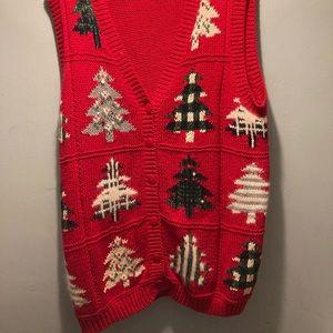 Vintage Jacque & KoKo Christmas button down sweater vest size 14/16